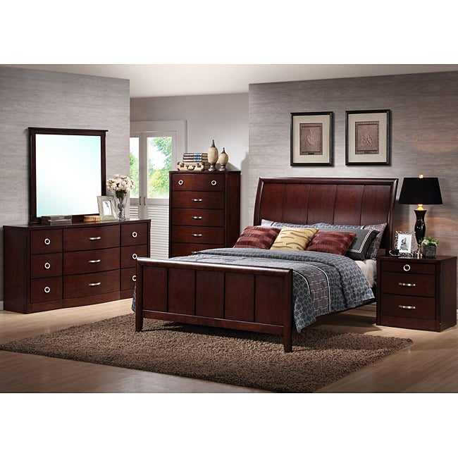 furniture of america duo tone 2 piece acacia and walnut bedroom set