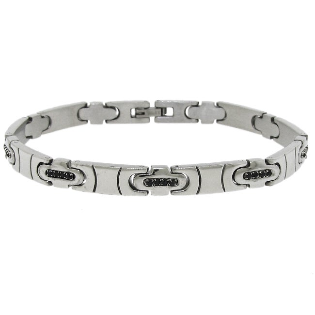 Stainless Steel Men's Black Cubic Zirconia Link Bracelet