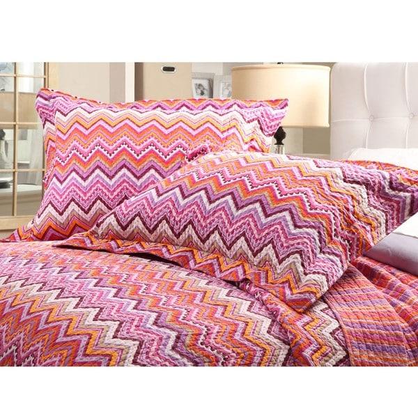 Purple ZigZag Full/Queen-size 3-piece Quilt Set
