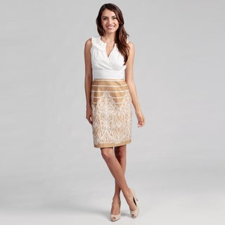 Cece's New York Women's Tan/ White Ruffle Dress