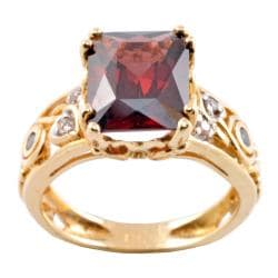 Michael Valitutti 14k Gold Rhodoltie Garnet and 1/10ct TDW Diamond Ring (I-J, I1-2)