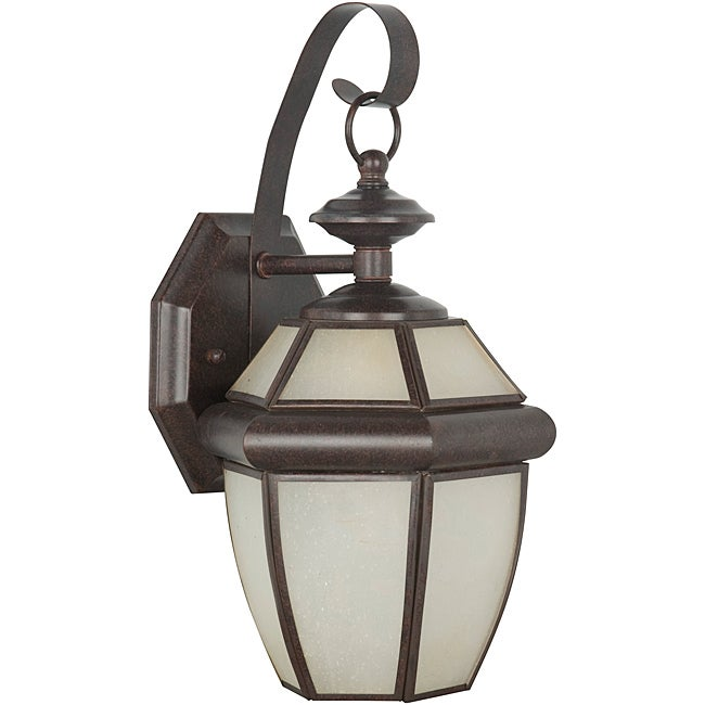One Light Rubbed Bronze Curved Outdoor Lantern