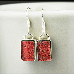 Sterling Silver Orange Dichroic Glass Earrings (Mexico)