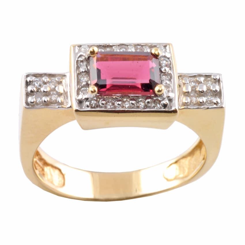 Michael Valitutti 14k Gold Pink Tourmaline and 1/4ct TDW Diamond Ring (I-J, I1-I2)