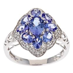 D'Yach 14k White Gold Tanzanite and 1/10ct TDW Diamond Ring (G-H, I1-I2)
