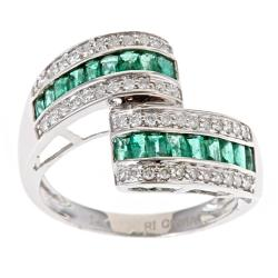 Anika and August D'Yach 14k White Gold Zambian Emerald and 1/3ct TDW Diamond Bypass Ring (G-H, I1-I2)