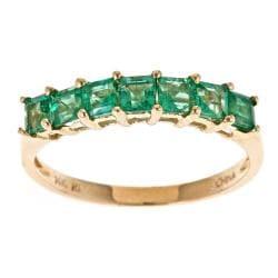 D'Yach 14k Yellow Gold Square-cut Zambian Emerald Ring