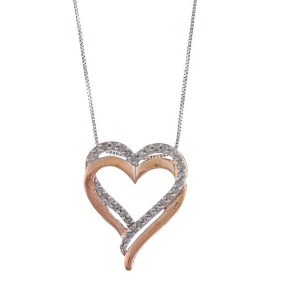 Sterling Silver 1/4ct TDW Diamond Heart Necklace (J-K, I3)