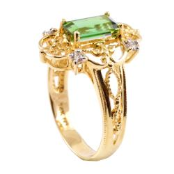 Michael Valitutti 14k Gold Green Tourmaline and 1/10ct TDW Diamond Ring (I-J, I1-I2)