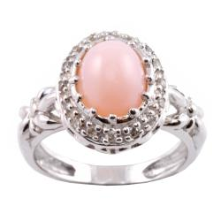 Michael Valitutti 14k Gold Pink Opal and 1/8ct TDW Diamond Ring (I-J, I1-I2)