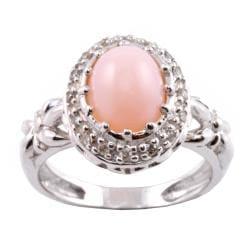 Michael Valitutti 14k Gold Pink Opal and 1/8ct TDW Diamond Ring (I-J, I1-I2)