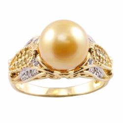 Michael Valitutti 14k Gold Pearl and 1/4ct TDW Diamond Ring (10-10.5 mm) (I-J, I1-I2)