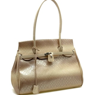 Dasein Patent Leatherette Snakeskin Embossed Shoulder Bag