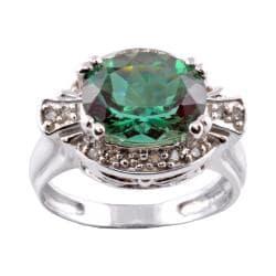 Michael Valitutti 14k White Gold Green Sunstone and 1/8ct TDW Diamond Ring (I-J, I1-I2)