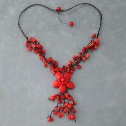 Red Coral Flower Cluster Necklace (Thailand)