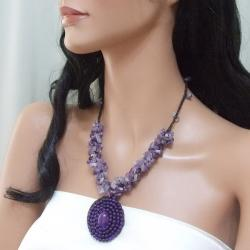 Purple Amethyst Mosaic Cluster Necklace (Thailand)