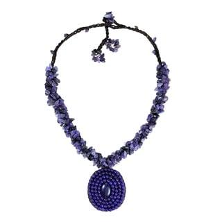 Purple Amethyst Mosaic Cluster Necklace (Thailand)