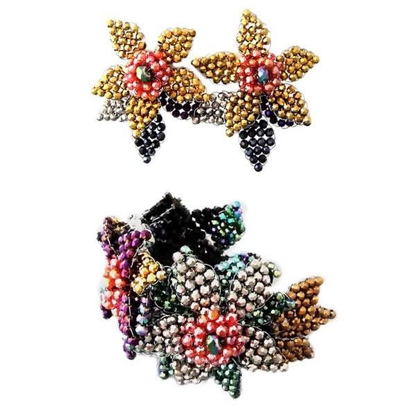 Crystal Flower Bracelet and Earring Set (Thailand)
