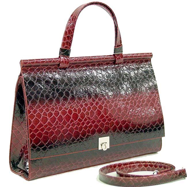 Dasein Patent Alligator Skin Embossed Leatherette Briefcase
