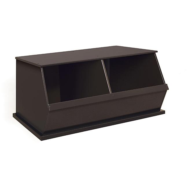 Two Bin Stackable Storage Cubby in Espresso