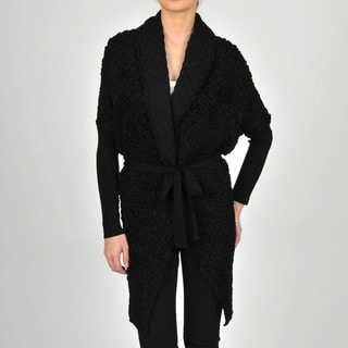 Colour Works Women's Black Puckered Stitch Belted Shawl Collar Cardigan