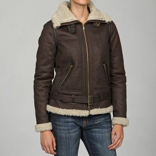 Maralyn & Me Women's Chocolate Fitted Faux Shearling Bomber Jacket