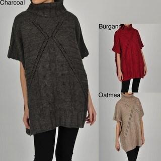 Colour Works Women's Textured Turtleneck Poncho