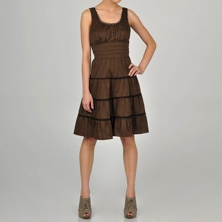 Decode 1.8 Women's Brown Ruffle Lace Detail Dress