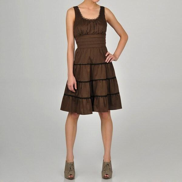 Decode 1.8 Women's Brown Ruffle Lace Detail Dress