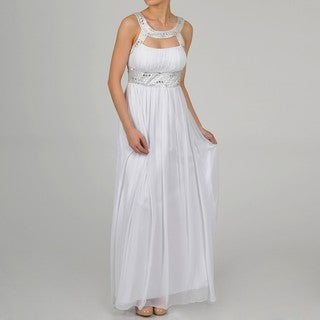 One By Eight Women's Ivory Chiffon Beaded Keyhole Gown