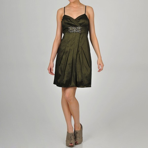 One By Eight Women's Olive Taffeta Embellished Party Dress