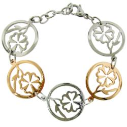 Two-tone Stainless Steel Cutout Flower Link Bracelet