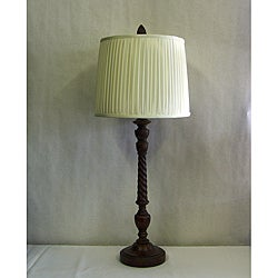 Transitional Burled Mahogany One-light Table Lamp