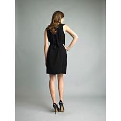 Issue New York Women's Black Ruffle V-neck Sleeveless Dress