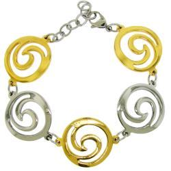 Two-tone Stainless Steel Cutout Swirl Link Bracelet