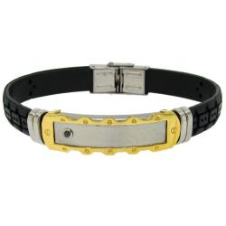 Two-tone Stainless Steel and Black Rubber Men's ID Bracelet