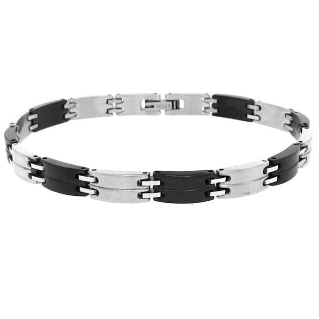 Blacktone and Stainless-Steel Men's Link Bracelet