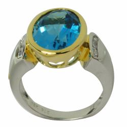 De Buman 18k Gold and Sterling Silver Blue Topaz and Cubic Zirconia Ring