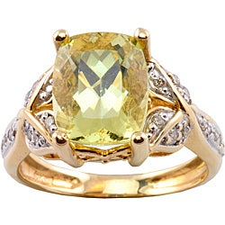 Michael Valitutti 14k Gold Canary Apatite and 1/6ct TDW Diamond Ring (I-J, I1-I2)
