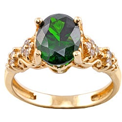 Michael Valitutti 14k Gold Imperial Diopside and 1/6ct TDW Diamond Ring (I-J, I1-I2)