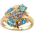 Michael Valitutti 14k Yellow Gold Blue Multi-gemstone and Diamond Ring