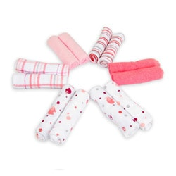 Piccolo Bambino Essential Pink Washcloths (Pack of 12)