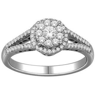 De Couer 10k White Gold 1/2ct TDW Round Multi Stone Diamond Ring (H-I, I2) with Bonus Necklace