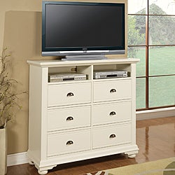 Napa White 6-drawer Media Chest