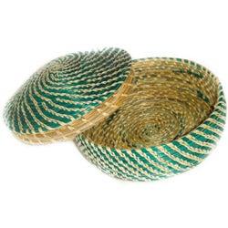 Green Medium Ethiopian Circular Basket (Ethiopia)