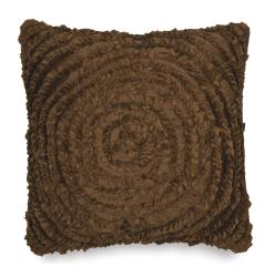 Victoria Dupioni Silk Brown Ruffles Throw Pillow