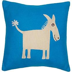Donkey Applique Decorative Wool Pillow