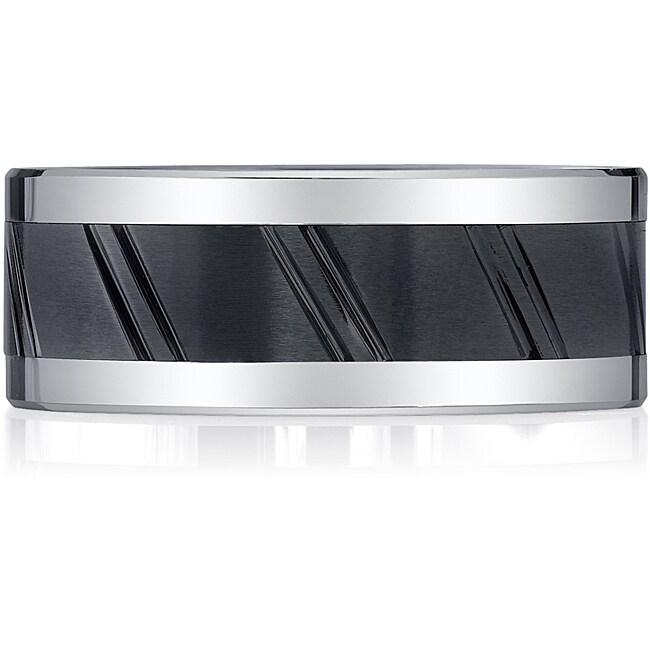 Black Ceramic and Cobalt Rivet Band