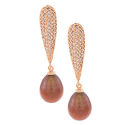 Kabella Rosetone Silver Chocolate FW Pearl and Cubic Zirconia Earrings (8-9 mm)
