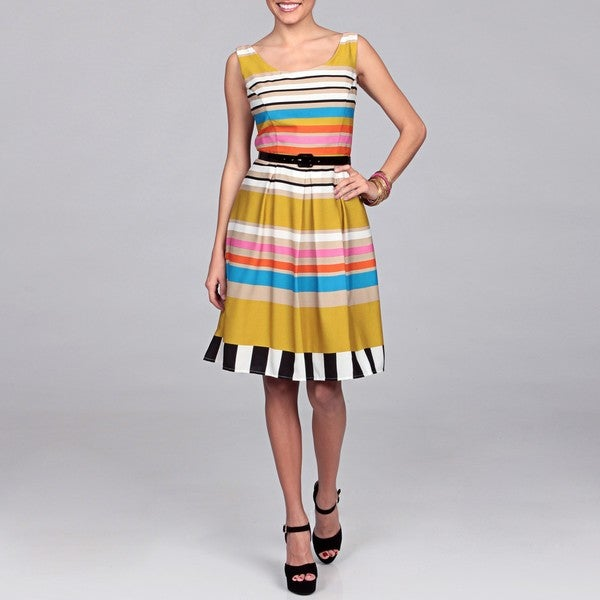 AnnaLee and Hope Women's Multicolor Striped Two-piece Dress